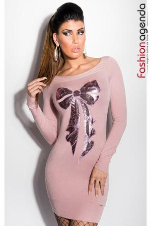 Rochie Tricotata Front Bow Rose