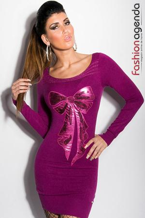 Rochie Tricotata Front Bow Violet