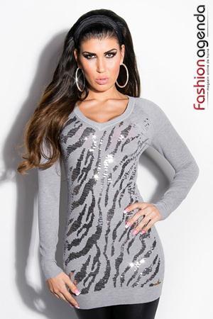 Pulover Sequin Grey
