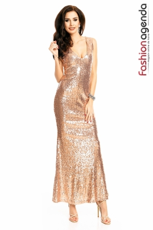 Rochie Glamour Sequins Gold