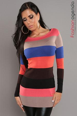 Pulover Stripes Coral