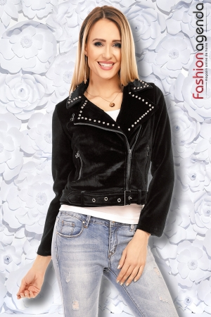 Jacheta din Catifea Lauren Neagra