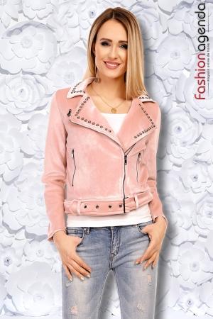Jacheta din Catifea Lauren Roz