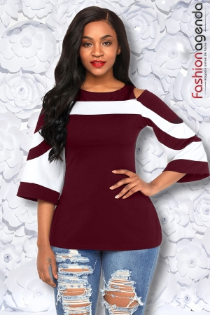 Top Colorblock Bordo