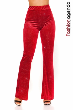 Pantaloni din Catifea Avery Rosii
