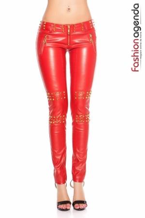 Pantaloni din Piele Rosii Leigh