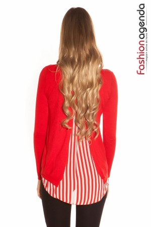 Pulover Back Stripes Rosu