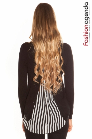 fashionagenda.ro Pulover Back Stripes Negru