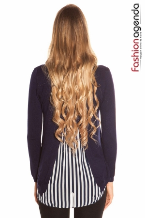 Pulover Back Stripes Bleumarin