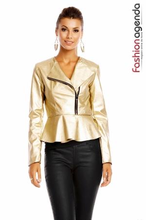 Jacheta din Piele Amelie Gold