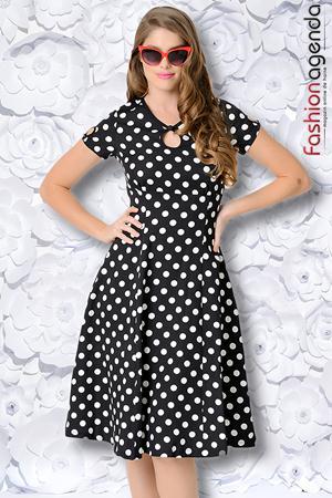 Rochie Polka Dot Black