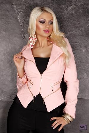 Jacheta din Piele Zippy Pink