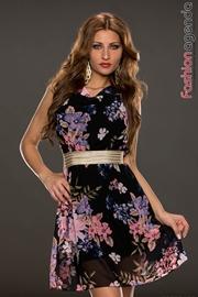 Rochie Neagra Cu Imprimeu Floral Leyla