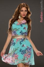 Rochie Turcoaz Cu Imprimeu Floral Leyla