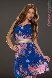 Rochie Albastra Cu Imprimeu Floral Leyla