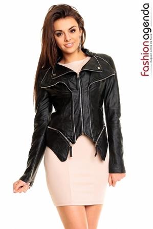 Jacheta asimetrica Neagra din Piele Carson
