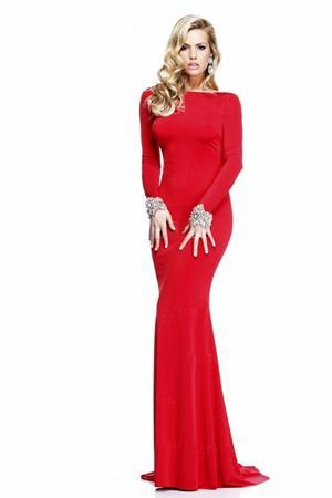 Rochie de seara lunga tip sirena decupata la spate Rose Rosu