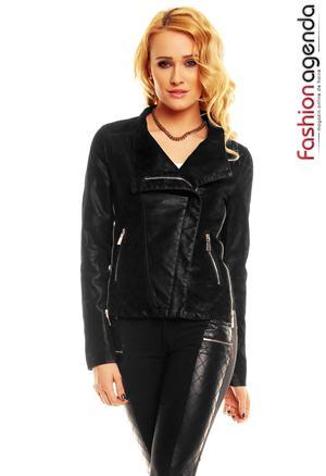 Jacheta din Piele Neagra Astor