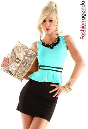 Rochie eleganta cu peplum Emmy Turcoaz
