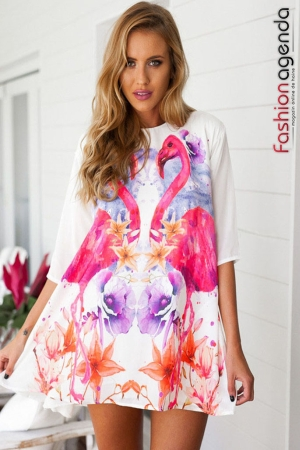 Rochie Asimetrica Pink Flamingo