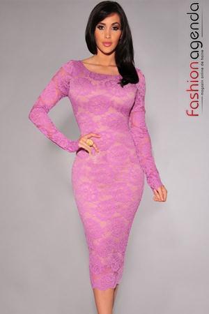 Rochie Midi din Dantela Agatha Purple
