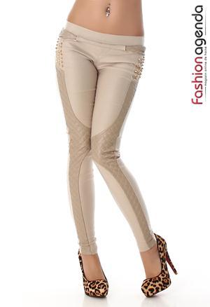 Pantaloni cu Piele Crem Erick