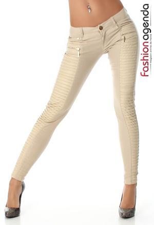 Pantaloni cu Piele Crem Rody