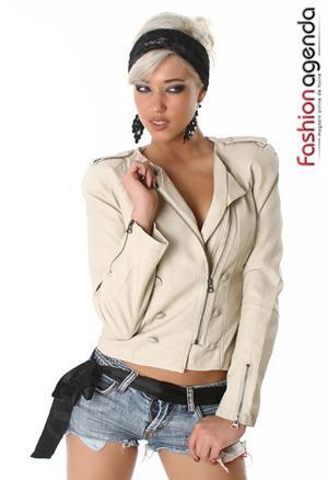 Jacheta din Piele Crem Damiana