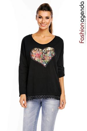 Bluza Neagra Big Heart