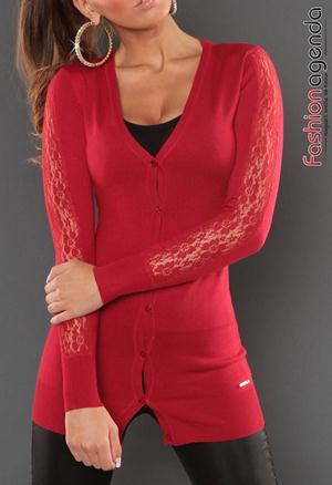 Cardigan Rosu Sleeve Lace