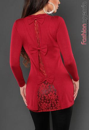 Pulover Back Lace Red