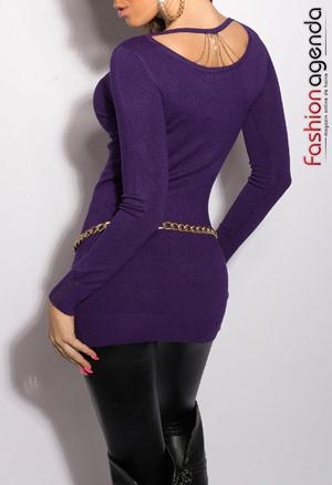 Pulover Back Chain Violet
