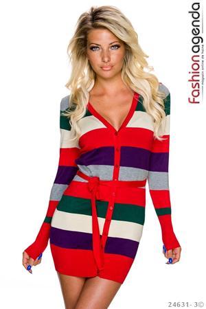 Cardigan Multicolor Rosu