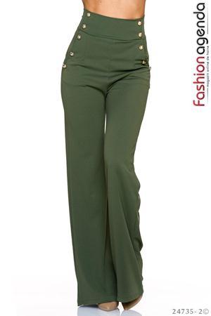 Pantaloni cu Talie Inalta Novelty Olive
