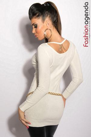 Pulover Back Chain White