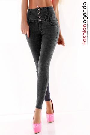 Jeans cu Talie Inalta Allude Black
