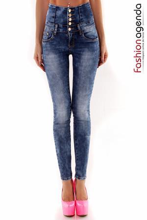 Jeans cu Talie Inalta Joell Albastri