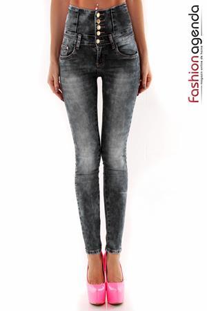 Jeans cu Talie Inalta Joell Gri