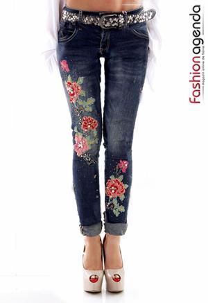 Jeans Beaded Rose Albastri