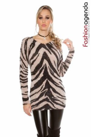 Pulover Zebra Print Bej