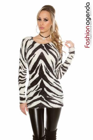 Pulover Zebra Print Ivoire