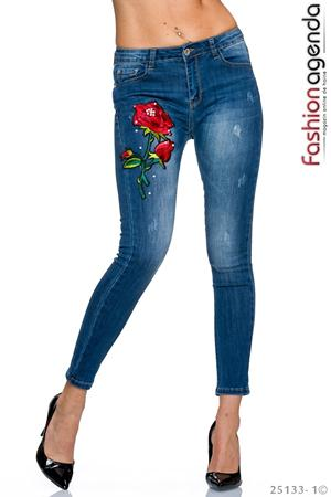 Jeans Rose Embroidery
