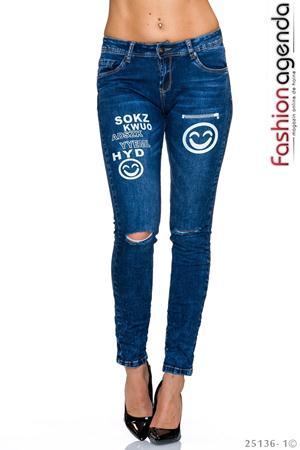 Jeans Smiley Albastri